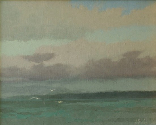 A painting of the view across Puget Sound to Edmonds WA