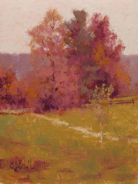 An example of color constancy. There are no greens in this landscape painting.