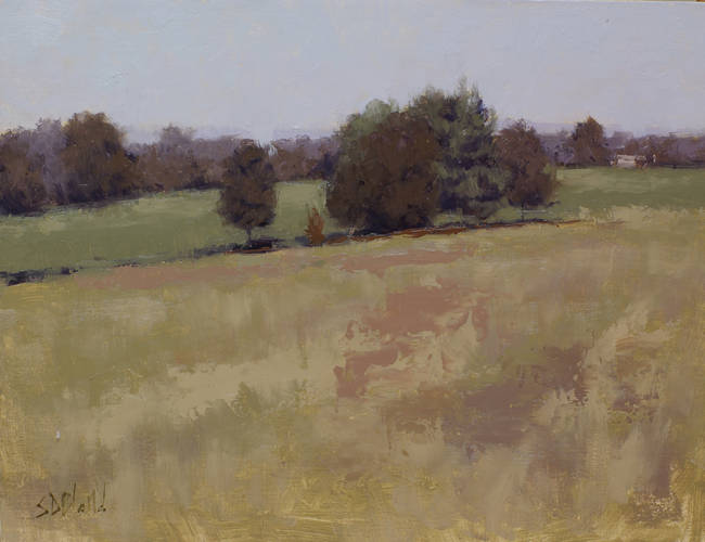 A green landscape painting with a broken up foreground