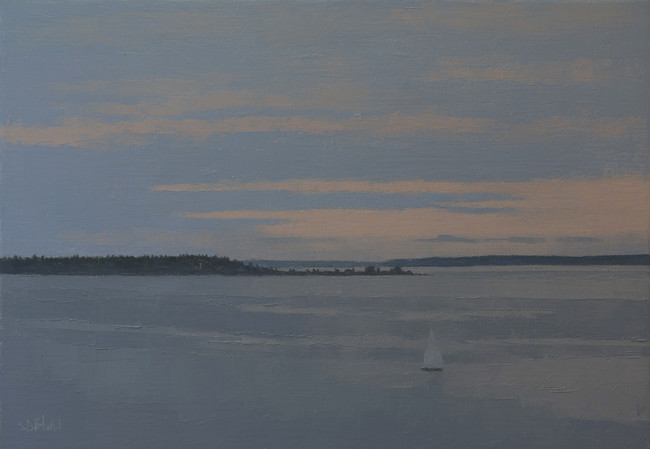 An oil painting of a sailing boat on Elliot Bay near Alki Point after sunset by artist Simon Bland