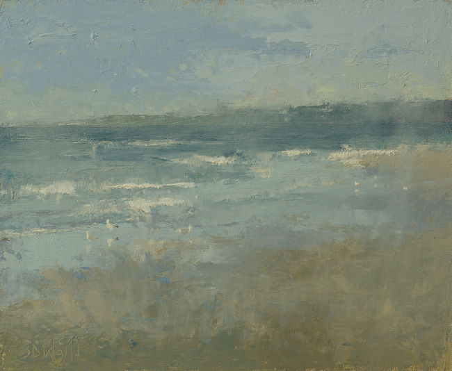 An oil painting of sea gulls on the beach at Ballard, WA by artist Simon Bland