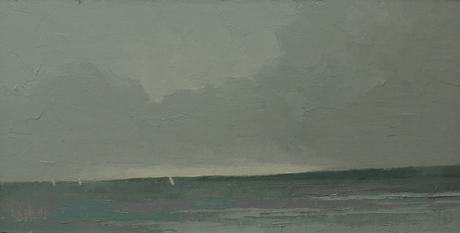 An oil painting of the view from Carkeek Beach by artist Simon Bland