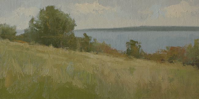 An oil painting of tress at the cliff edge in Discovery Park by artist Simon Bland