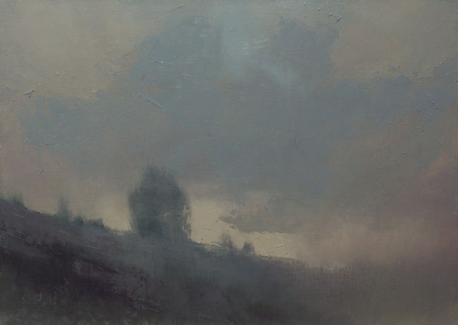 An abstract landscape oil painting by artist Simon Bland
