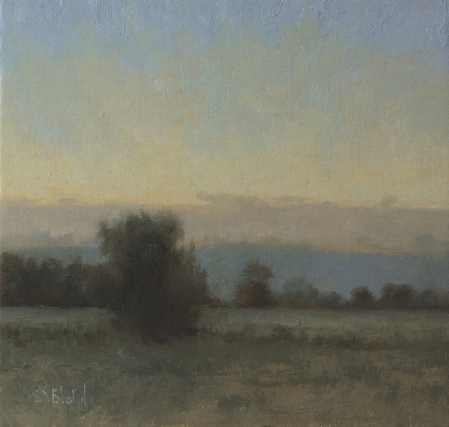 A painting of fading light at sunset by artist Simon Bland