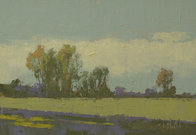 a painting of trees on a farm by artist Simon Bland