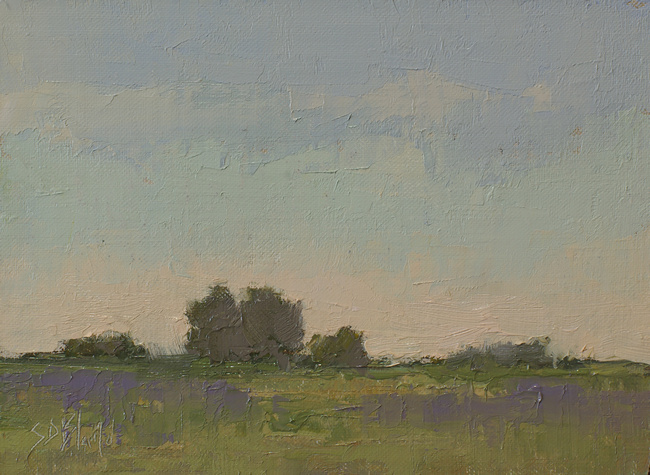 A small landscape oil painting with a soft color palette by artist Simon Bland