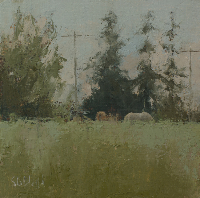 Horses grazing in long grass in an oil painting by artist Simon Bland