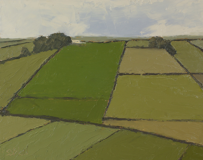 Yorkshire fields and dry stone walls in an oil painting by artist Simon Bland.