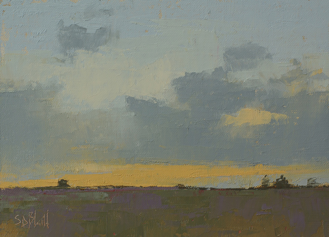 a painting of clouds at sunset by artist Simon Bland