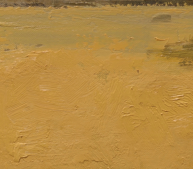 Close up of a painting showing paint textures