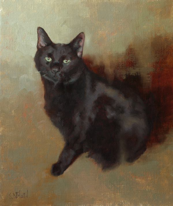 Oil portrait of a black cat by artist Simon Bland