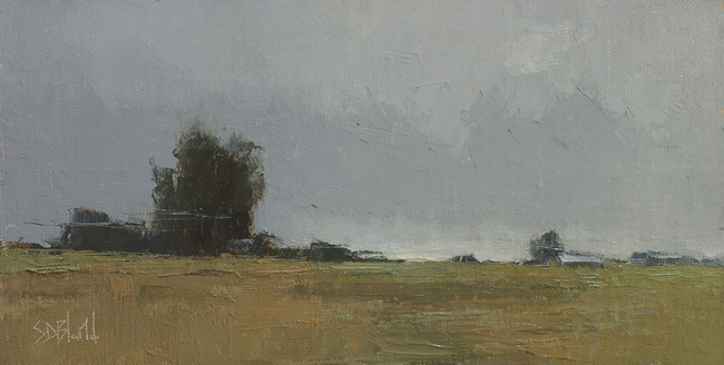 An oil painting of open fields with an earth color palette by artist Simon Bland