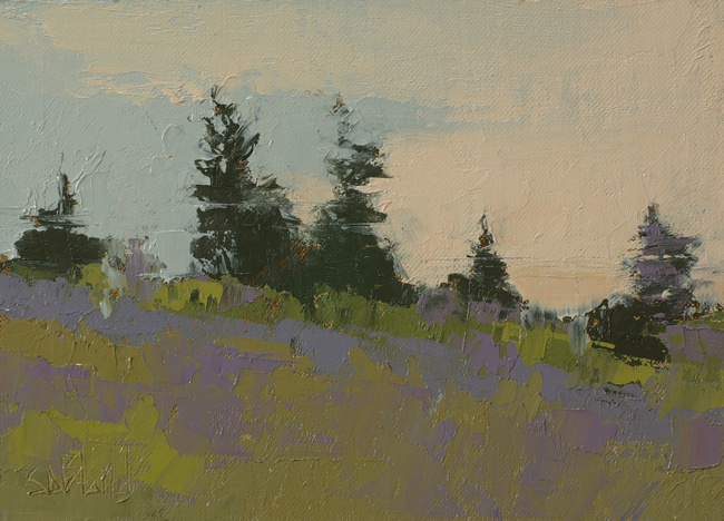an oil painting of pines trees against a purple foreground by artist Simon Bland