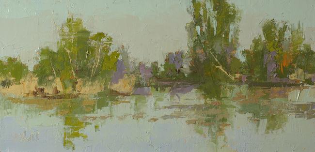 A plein air oil painting of the ponds at Washington Park Arboretum by artist Simon Bland