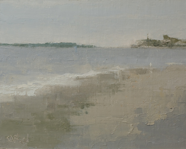 An oil painting of Richmond Beach in an earthy gray palette.