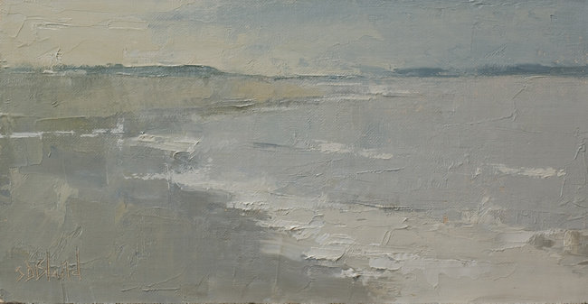 An oil painting of Richmond Beach by artist Simon Bland
