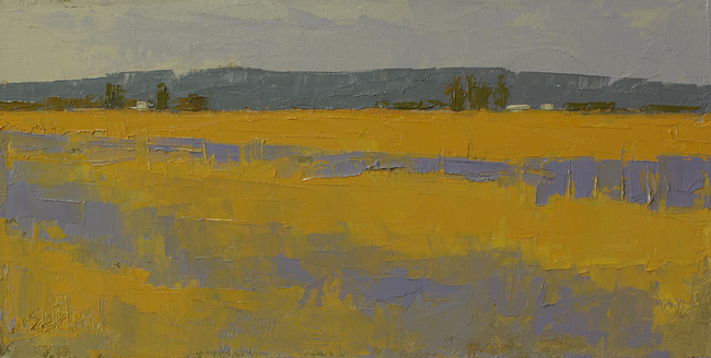 A painting of yellow fields by artist Simon Bland