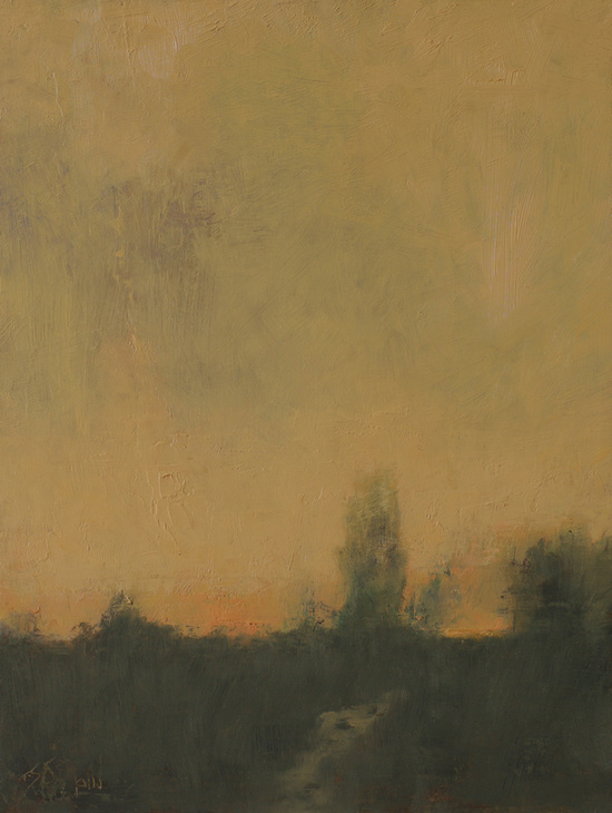 Oil painting of the sunset in a tonal style by artist Simon Bland