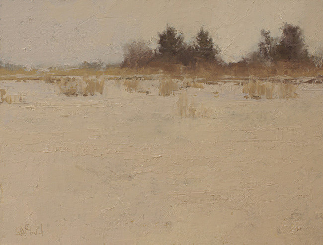 Untitled snow scene, a landscape painting by artist Simon Bland