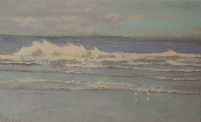 Oil painting of waves at the beach