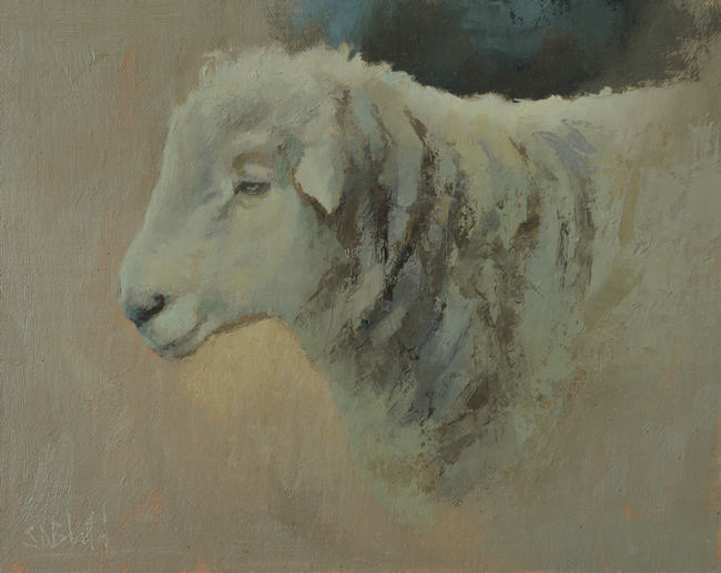 Oil painting of a polled ram