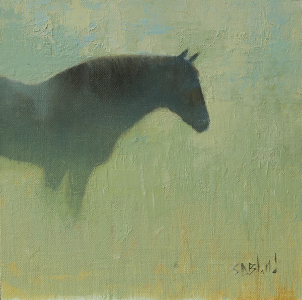 Oil painting of a dark horse with abstract background in light greens and yellows