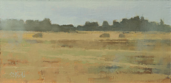 An oil painting of sheep grazing in a fall landscape