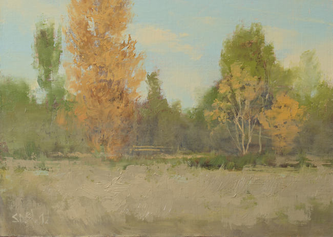 An oil painting of a fall landscape
