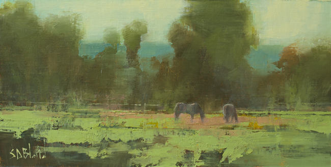 Abstract impressionistic oil painting of horses grazing