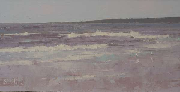 An oil painting of a beach on Puget Sound with crashing waves and gulls in the foreground
