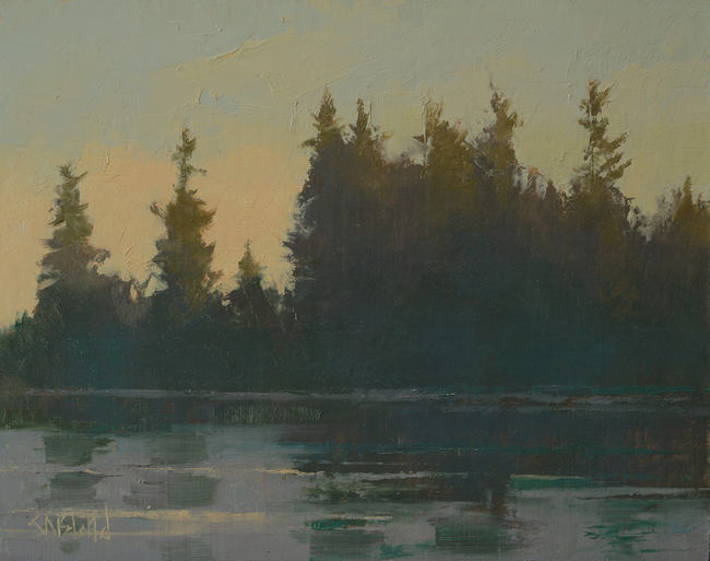 Oil painting of sunset in the pine trees on the waterfront in the PNW