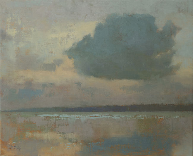 Oil painting of clouds over the water in the Pacific Northwest