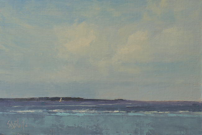 An oil painting of Puget Sound