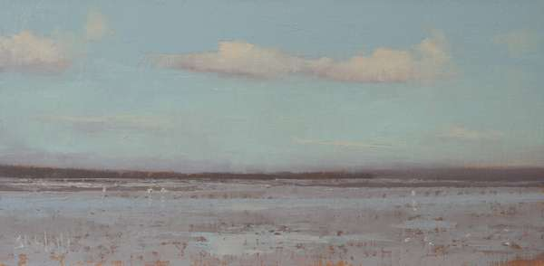 An oil painting of the beach at low tide with a few clouds in a blue green sky