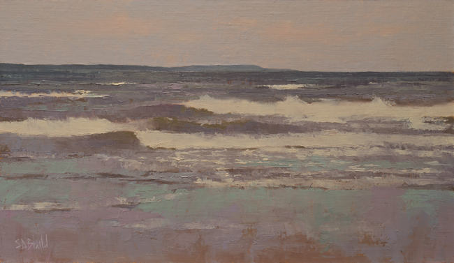 An oil painting of surf, waves breaking on the beach