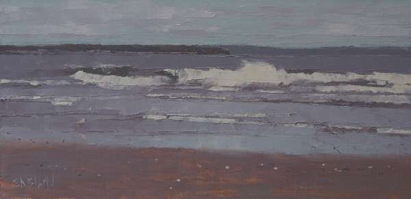 An oil painting of a beach on Puget Sound with crashing waves