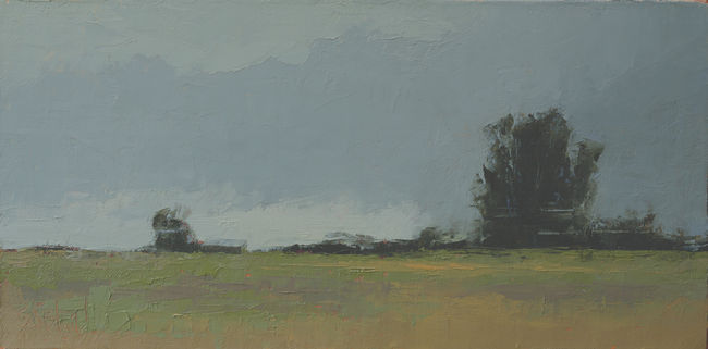Oil painting landscape of backlit tree against gray sky