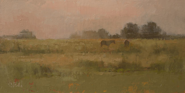 OIl painting of horses in an open field with a warm gray sky.