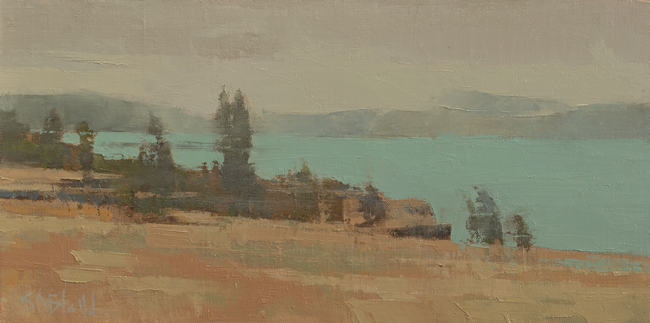 A landscape oil painting of the Columbia River in Oregon.