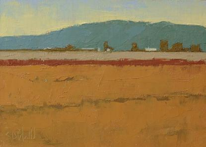 An oil painting of fall colors in the Skagit Valley