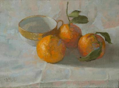 Oil painting of tea cup and mandarin oranges