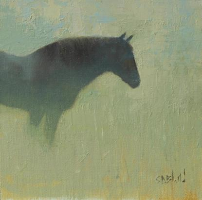 An oil painting of a dark horse seen in profile against an abstract green background