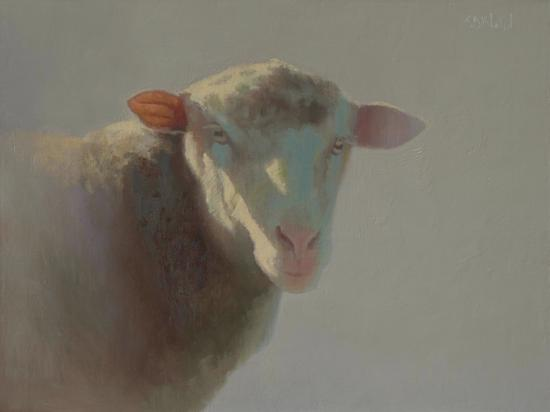 An oil painting of a sheep with side lighting