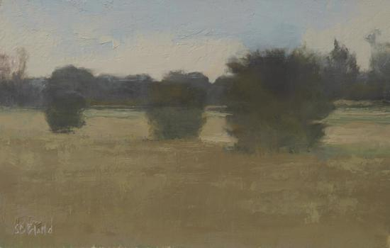 Oil painting of hawthorn bushes with atmospheric effects and gray green foreground