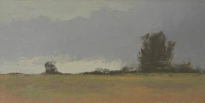 An oil painting of trees in an open landscape