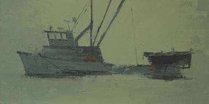 Oil painting of a fishing boat in silhouette with a green background