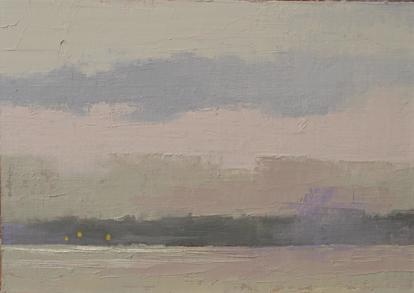 Oil painting of gray winter skies over the sea.