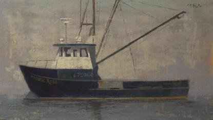 Oil painting of a fishing boat at dock