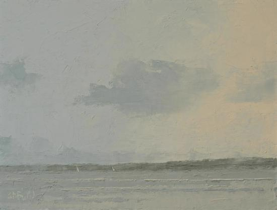 Oil painting of a seascape with gray sky and dominant cloud